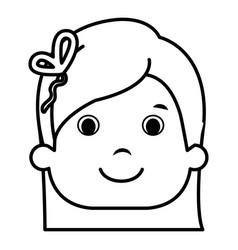 Cute little girl head character vector