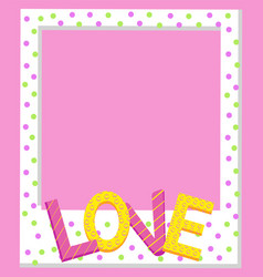 cute polka dot photo frame with love sign vector image