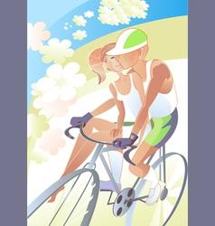 Cyclist girl vector