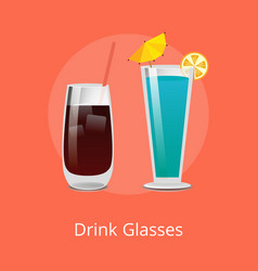 Drink glasses vodka cola and blue lagoon cocktails vector