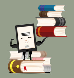 Electronic book with pile of books vector