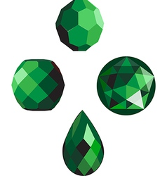emerald green faceted beads vector image