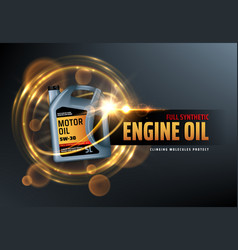 Engine oil canister synthetic motor oils logo vector