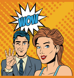 fashion couple with speak bubble pop art cartoon vector image