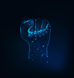 female fist silhouette raised hand made of vector image