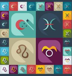 Flat concept set modern design with shadow zodiac vector
