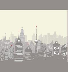 foggy city skyline vector image