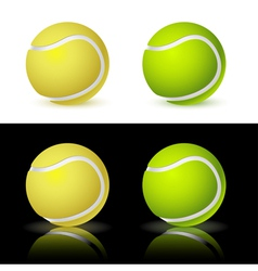 Four tennis balls on white and black backgr vector