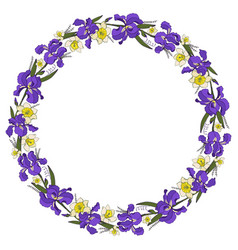 frame with yellow and purple flowers vector image