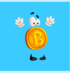 Funny bitcoin character standing with rising hands vector