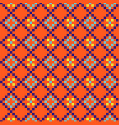 Geometric grided seamless orange pattern pixel vector