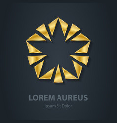 Gold star logo Award 3d icon Golden logotype vector