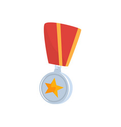 Golden star medal with red ribbon cartoon vector