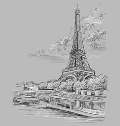 Grey hand drawing paris 3 vector