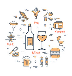 Grill concept - wine and drink vector