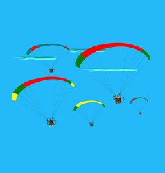 group of para gliding flying on the sky vector image