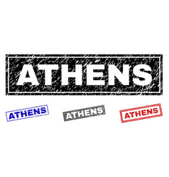 grunge athens textured rectangle stamp seals vector image