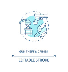 Gun theft and crimes turquoise concept icon vector