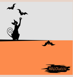 Halloween background with a black cat vector