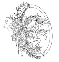 Head unicorn with flowers coloring oval vector
