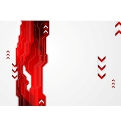 Hi-tech red abstract background with arrows vector image