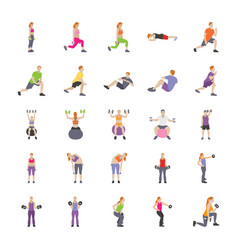 human exercises flat icons vector image