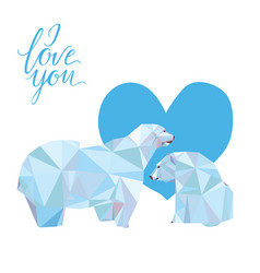 Low poly polar bears sitting on ice and looking vector
