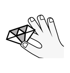 Luxury diamond cristal gem in the hand vector