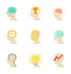 Man head with thoughts icons set cartoon style vector