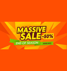 Massive sale advertising banner with typography on vector