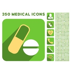 Medication Icon and Medical Longshadow Icon Set vector image
