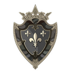 medieval heraldic knight shield with crown and vector image