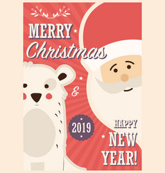 merry christmas card with santa claus and white vector image