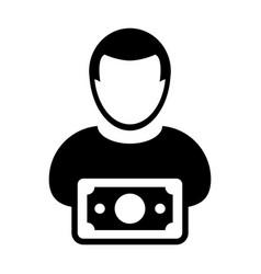money icon male user person profile avatar symbol vector image