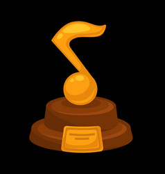 music award prize golden musical note flat vector image