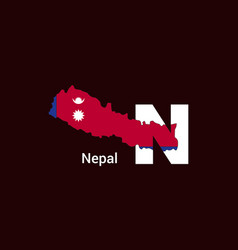 nepal initial letter country with map and flag vector image