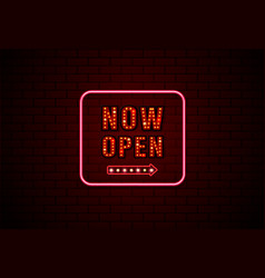 Now open sign neon and bulb on brick wall vector