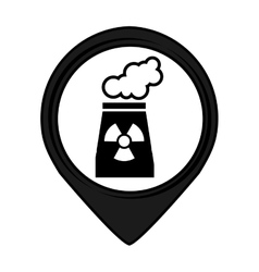 Nuclear plant pin pointer caution signal icon vector