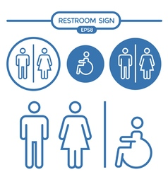 Restroom male female and cripple sign vector