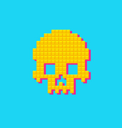 retro human pixel skull 8 bit pop art vector image