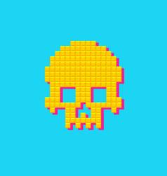 Retro human pixel skull 8 bit pop art vector