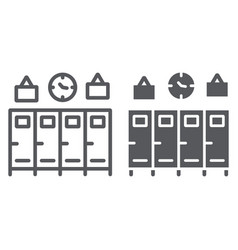 school lockers line and glyph icon gym and vector image