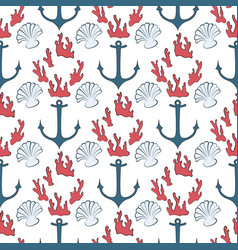 Seamless pattern of marine symbols vector