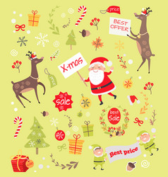 seamless pattern with christmas elves santa claus vector image