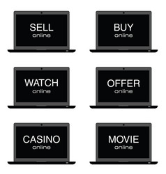 sell online on laptop set vector image