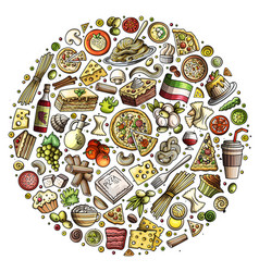 set italian food cartoon doodle objects vector image