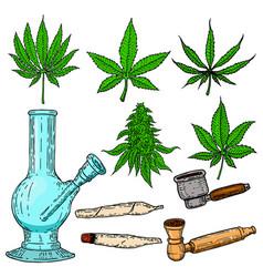 Set of cannabis design elements bong cigarettes vector