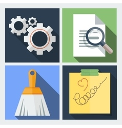 Set of icons flat with gears a magnifying vector image