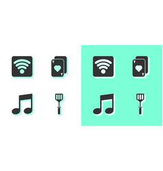 Set spatula wi-fi wireless internet network vector