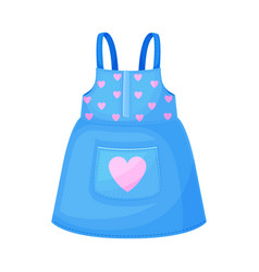 Sleeveless pinafore skirt with straps for girls vector